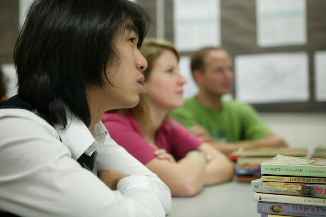 Student listening intently